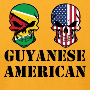 Guyanese American Flag Skulls - Men's T-Shirt by American Apparel