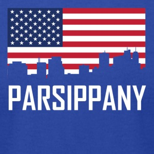 Parsippany New Jersey Skyline American Flag - Men's T-Shirt by American Apparel