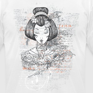 Geisha Illustration - Japanese Art New Custom Made - Men's T-Shirt by American Apparel