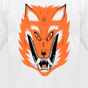 Orange Cursed Fox Cyber System - Men's T-Shirt by American Apparel