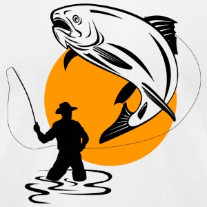 Fisherman - FLY FISHERMAN CATCHING A LEAPING TRO - Men's T-Shirt by American Apparel