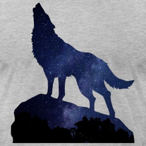 Wolf Howling Night - Men's T-Shirt by American Apparel