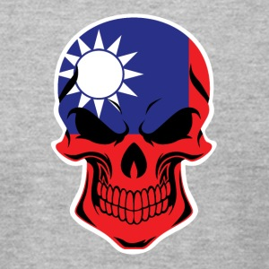 Taiwanese Flag Skull - Men's T-Shirt by American Apparel