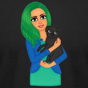 Girl and dog pet - Men's T-Shirt by American Apparel