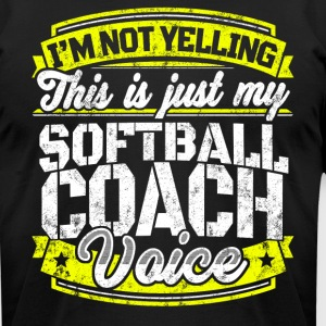 Funny Softball coach: My Softball Coach Voice - Men's T-Shirt by American Apparel