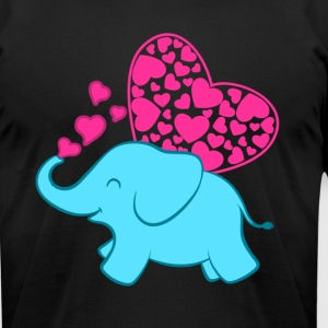 ELEPHANT WITH HEARTS SHIRT - Men's T-Shirt by American Apparel