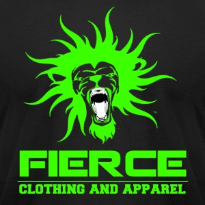 FIERCE Clothing Line (Green on Black) - Men's T-Shirt by American Apparel