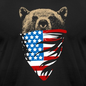 Grizzly bear with american bandana flag - Men's T-Shirt by American Apparel