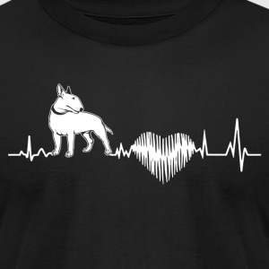 Bull Terrier Heartbeat Shirt - Men's T-Shirt by American Apparel