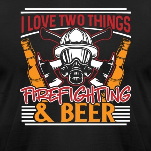 I love two things Firefighting & Beer - Men's T-Shirt by American Apparel
