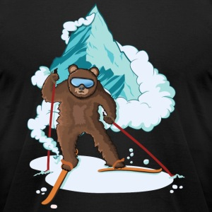 Skiing Bear - Men's T-Shirt by American Apparel