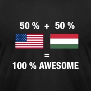 Half Hungarian Half American 100% Hungary Flag - Men's T-Shirt by American Apparel