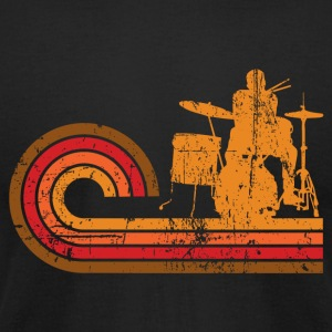 Retro Style Drummer Silhouette Music - Men's T-Shirt by American Apparel