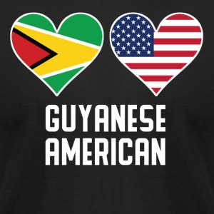 Guyanese American Heart Flags - Men's T-Shirt by American Apparel
