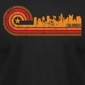 Retro Style Columbus Ohio Skyline Distressed - Men's T-Shirt by American Apparel