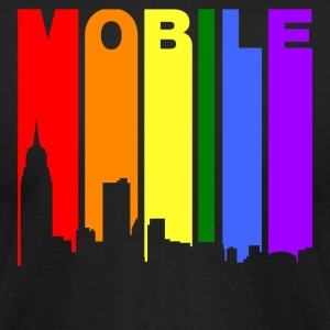 Mobile Alabama Gay Pride Rainbow Skyline - Men's T-Shirt by American Apparel