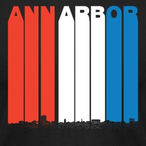 Red White And Blue Ann Arbor Michigan Skyline - Men's T-Shirt by American Apparel