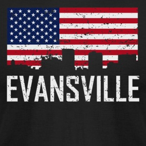 Evansville Indiana Skyline American Flag - Men's T-Shirt by American Apparel
