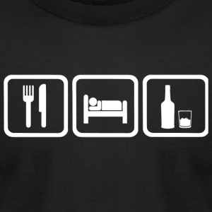 Whiskey - Funny Eat Sleep Whiskey Repea - Men's T-Shirt by American Apparel