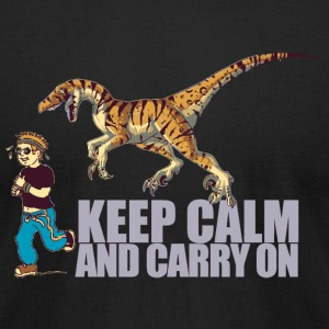 Dino - (Dino) Keep Calm and Carry On - Men's T-Shirt by American Apparel