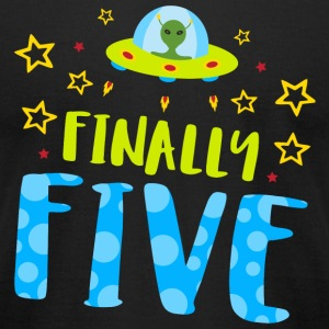 Birthday - Finally Five Year Old Boy Birthday - Men's T-Shirt by American Apparel