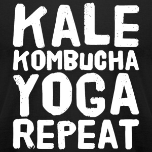 Yoga - Kale Kombucha Yoga Repeat - Men's T-Shirt by American Apparel