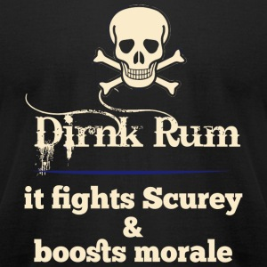 RUM - DRINK RUM IT FIGHTS SCUREY & BOOSTS MORALE - Men's T-Shirt by American Apparel