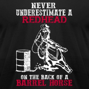 A Redhead on the back of a Barrel horse - Men's T-Shirt by American Apparel