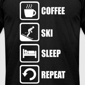 Ski - Funny Coffee Ski Sleep Repeat - Men's T-Shirt by American Apparel