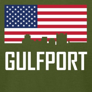 Gulfport Mississippi Skyline American Flag - Men's T-Shirt by American Apparel