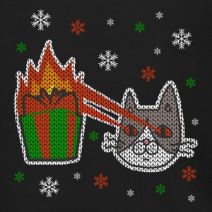 Holiday Ugly Christmas Sweater CAT BURNS GIFT FUN - Men's Zip Hoodie