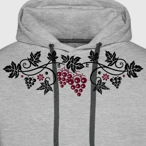 Wine grape with vine leaves, vine. - Men's Premium Hoodie