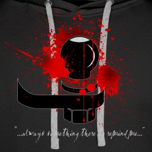 Bloody Shin Checking Hitch Dark Shirt Design - Men's Premium Hoodie