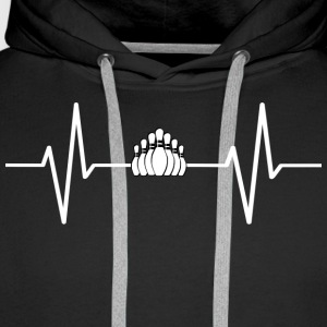 My heart beats for bowling! gift - Men's Premium Hoodie