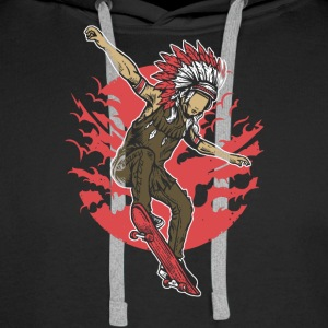 Indian Chief Skateboard. Chief Of Skateboarding. - Men's Premium Hoodie