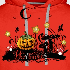 Halloween Horror, meadow with fly agarics, pumpkin - Men's Premium Hoodie