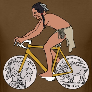 native american riding bike with buffalo head coin