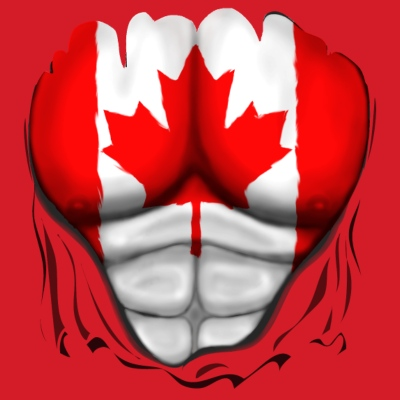 Canada Flag Ripped Muscles, six pack, chest t-shirt