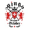 Kings October King Lions Knight Shield Birthday - Men's T-Shirt