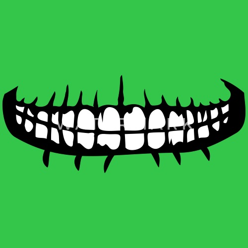 Teeth Mouth Grin Horror Halloween Creepy Evil Face Mens T Shirt