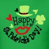 Happy st.Patrick's day sexy lips green hat - Men's T-Shirt