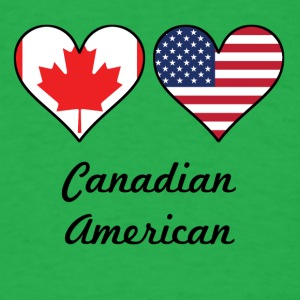 Canadian American Flag Hearts - Men's T-Shirt