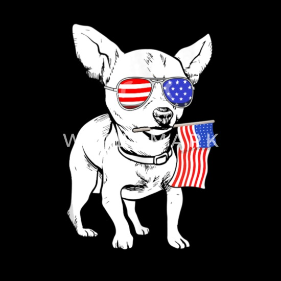 Cute Chihuahua American Flag Sunglasses Funny 4th Men's T