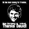 he has been looking for freedom - now germany is united - thanks david! - Men's T-Shirt