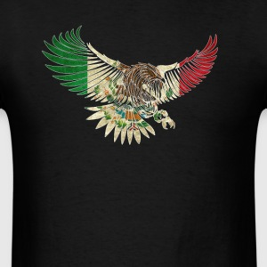 Cool Flying Eagle Vintage Mexican Shirt Design Mexican Flag Shirt for Mexican Pride Outline - Men's T-Shirt