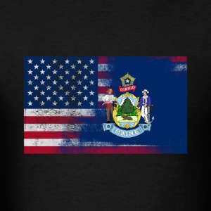 Maine American Flag Fusion - Men's T-Shirt