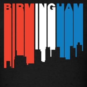 Red White And Blue Birmingham Alabama Skyline - Men's T-Shirt