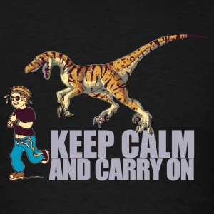 Dino - (Dino) Keep Calm and Carry On - Men's T-Shirt