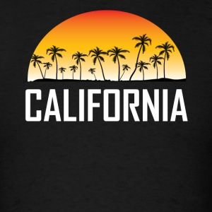 California Sunset And Palm Trees Beach Vacation - Men's T-Shirt