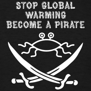 stop global warming and become a pirate FSM white - Men's T-Shirt